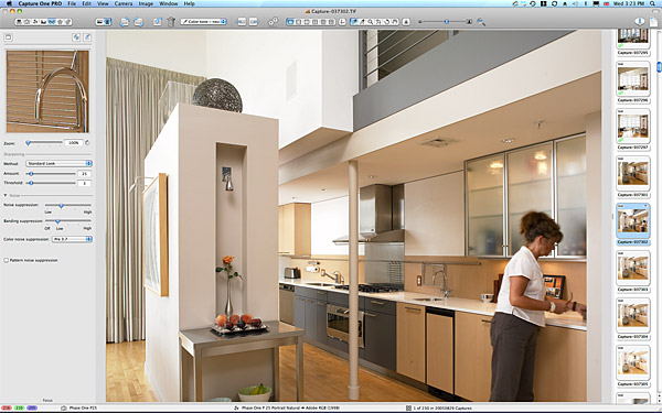 Marie setting up the kitchen shot in David Hacin's Laconia Lofts project in Boston.
