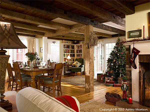 Jackie Ennis & David Rocchio's New England farmhouse near Stowe in Vermont at Christmas.