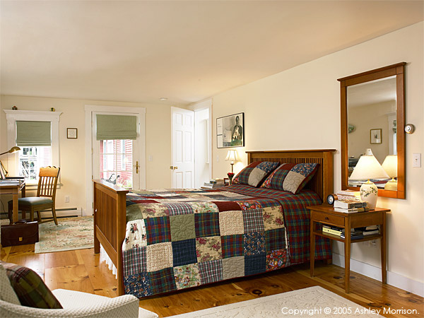 Master bedroom in Jackie Ennis & David Rocchio's New England farmhouse near Stowe in Vermont.