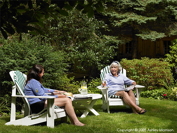 Rosemary and her daughter in the garden at their cottage in the Cape Cod town of Chatham