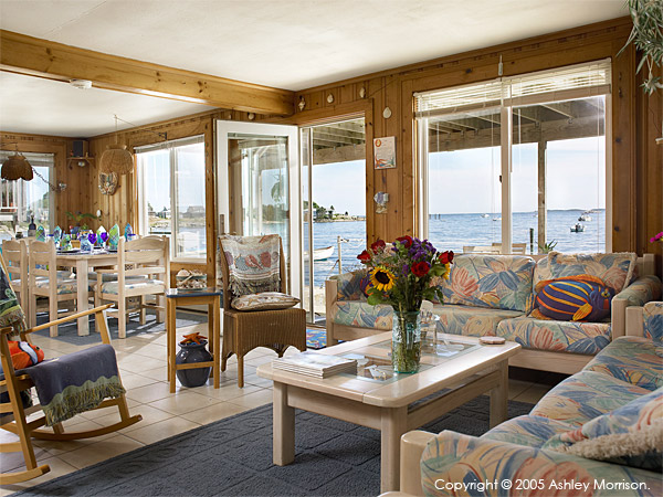 The living room in Rick Dean & Maria Sylvia's beach house in Mystic