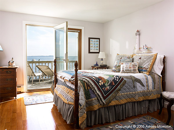 The lighthouse bedroom in Rick Dean & Maria Sylvia's beach house in Mystic