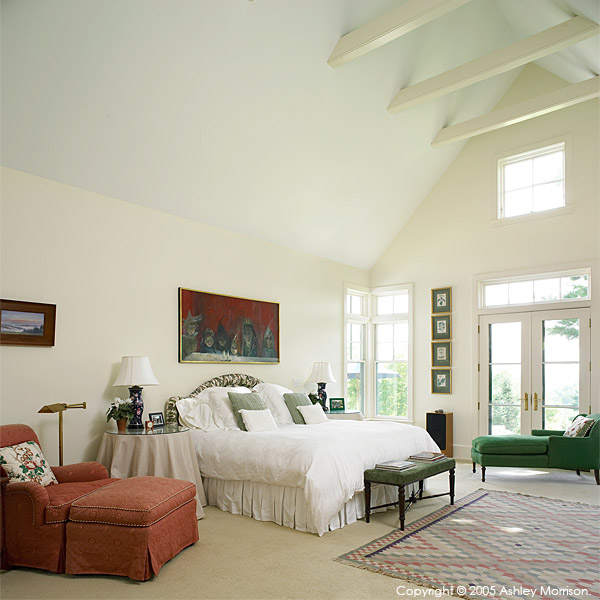 Master bedroom in Barbara & Mark Leswing's Hidden Valley Farm in Vermont.