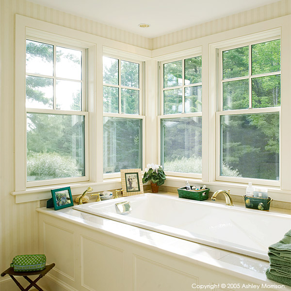 Tea for Two bathroom in Barbara & Mark Leswing's Hidden Valley Farm in Vermont.