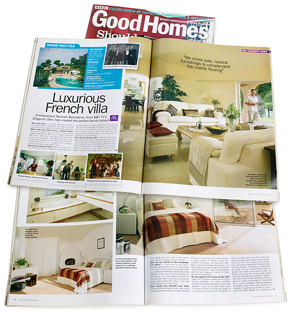 Pages 86 to 92 of the January 2006 issue of BBC Good Homes magazine featuring Duncan Bannatyne's French Riviera villa which over looks Cannes.