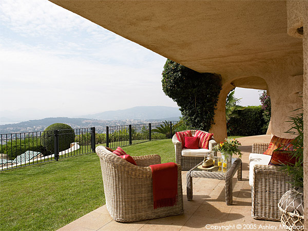 Outside sitting area at Duncan Bannatyne's french villa over looking Cannes.