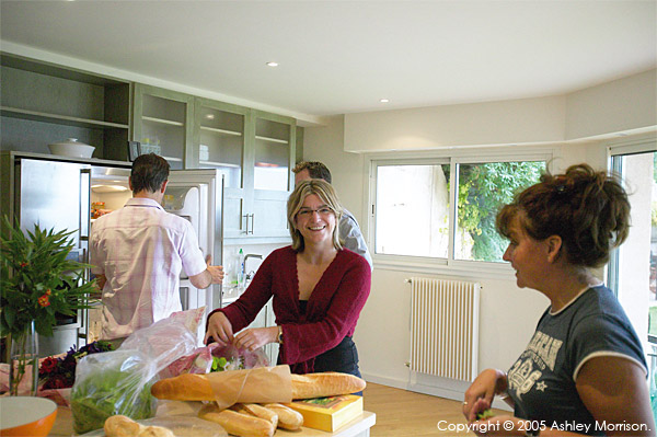 Duncan Bannatyne with Rachel Watson, Robert Montague and Marie McMillen the kitchen of his French Riviera villa.