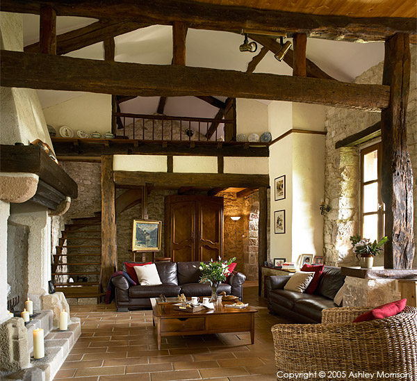 The living room in Angela & John Goodwin's 15th century Manoir or Tower house near the medieval hill village of Cordes sur ciel in the French Tarn region.