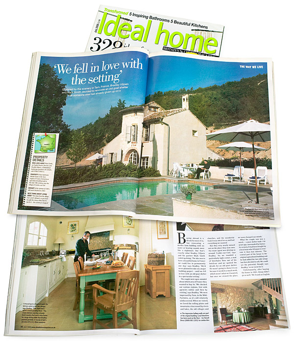 Pages 84 to 88 of the July 2006 issue of Ideal Home magazine featuring Bradley Viljoen and Mark Smith's villa in France.