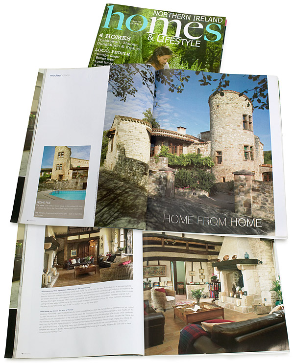 Pages 46 to 54 in the June 2008 issue of Northern Ireland Homes & Lifestyle magazine featuring Angela and John Goodwin's Tower house in the Tarn region of France.
