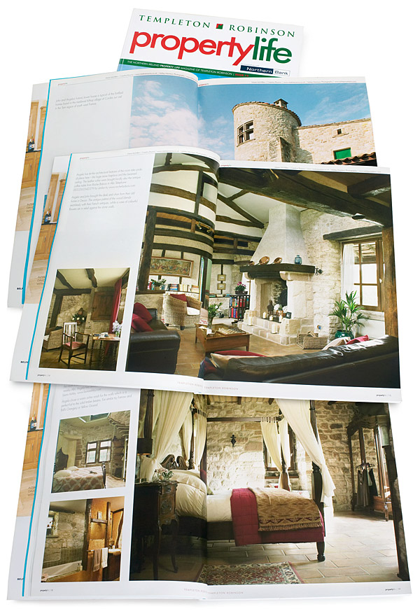 Pages 8 to 19 in the 13th issue of Property Life magazine featuring Angela and John Goodwin's Tower house in the Tarn region of France.