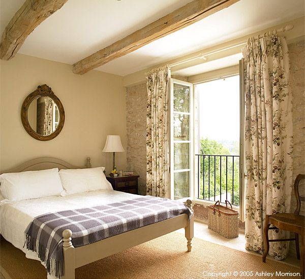 Master bedroom in Bradley Viljoen's hillside villa located in the Tarn region of France.