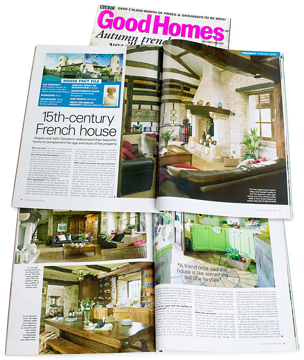 Pages 118 to 123 of the October 2006 issue of BBC Good Homes magazine featuring Angela & John Goodwin's Tower house near Cordes sur ciel in the French Tarn region.