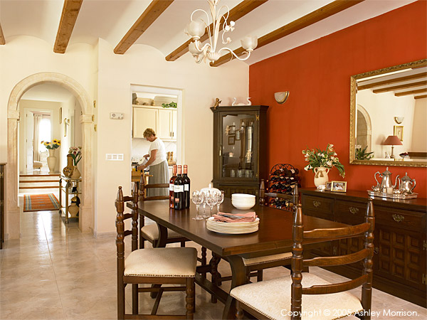 The dining area in Margaret & Barry Harris' villa located in Javea on the most Easterly tip of Spain.