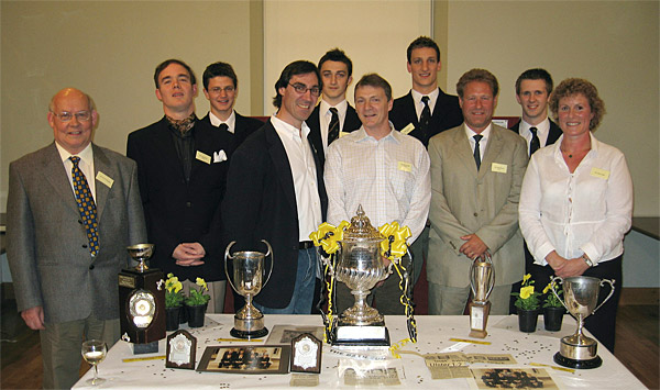 Members of the 1979 and 2006 RBAI swimming teams who won the Bath Cup and the Otter cup with Con O'Callaghan.