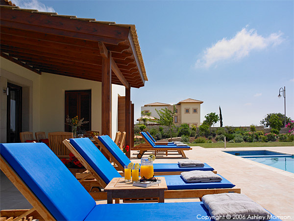 Out at the pool at Villa Thalia at Aphrodite Hills near Paphos in Cyprus.