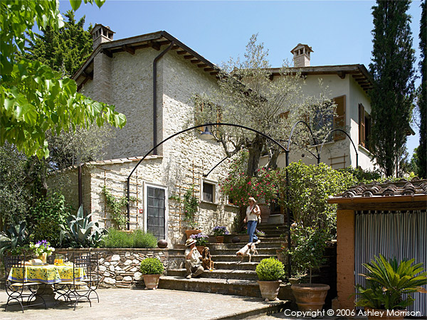 Tia Weissman and Michael outside her Italian villa, Casa Lara, located near Amelia in Umbria.