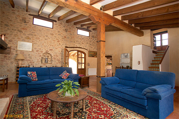 living area inside Spanish finca located near Javea.