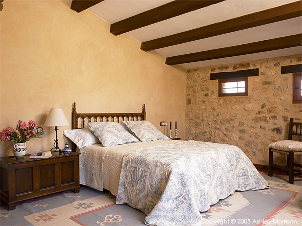 Bedroom in Black's Spanish finca located near Javea on the Costa Blanca.
