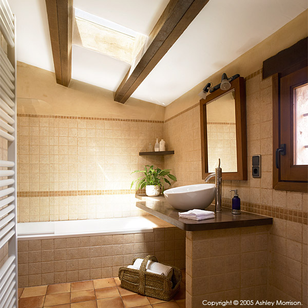Bathroom in Black's Spanish finca located near Javea on the Costa Blanca.