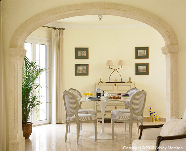 Dining area in Brian McHardy's villa located in Javea on the Costa Blanca in Spain.
