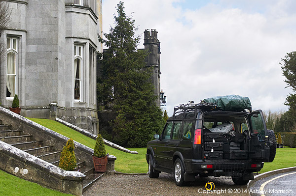 Unloading the camera & lighting equipment from the Land Rover outside Dromoland Castle in County Clare.