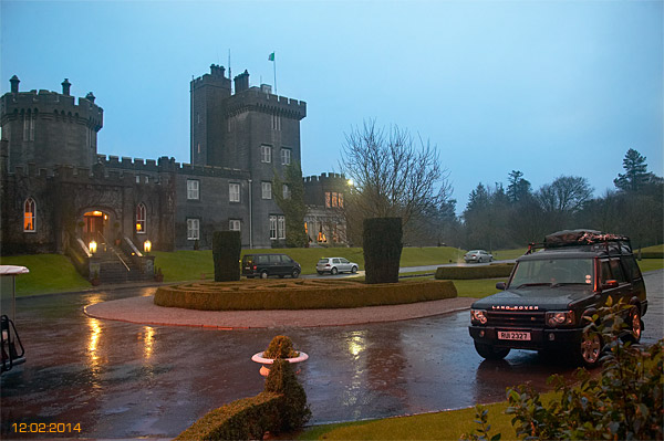 Land Rover outside Dromoland Castle.