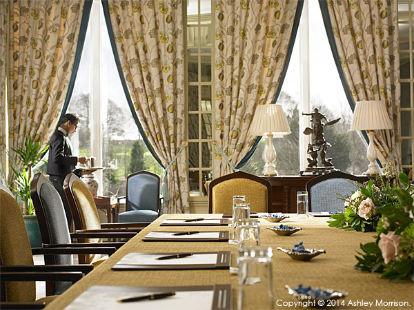 The Terrace Room set-up for a business meeting at Dromoland Castle in County Clare.