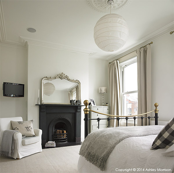 The master bedroom in Kelly Ann & Dominic's Victorian townhouse in Belfast.