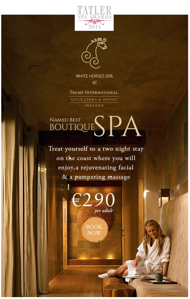 Boutique Spa Award ad by Trump International Golf Links & Hotel Ireland.