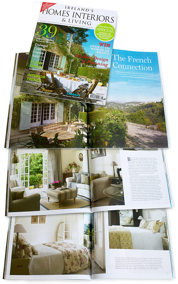The cover plus pages 72 to 83 of the August 2014 issue of Ireland's Homes Interiors & Living magazine.