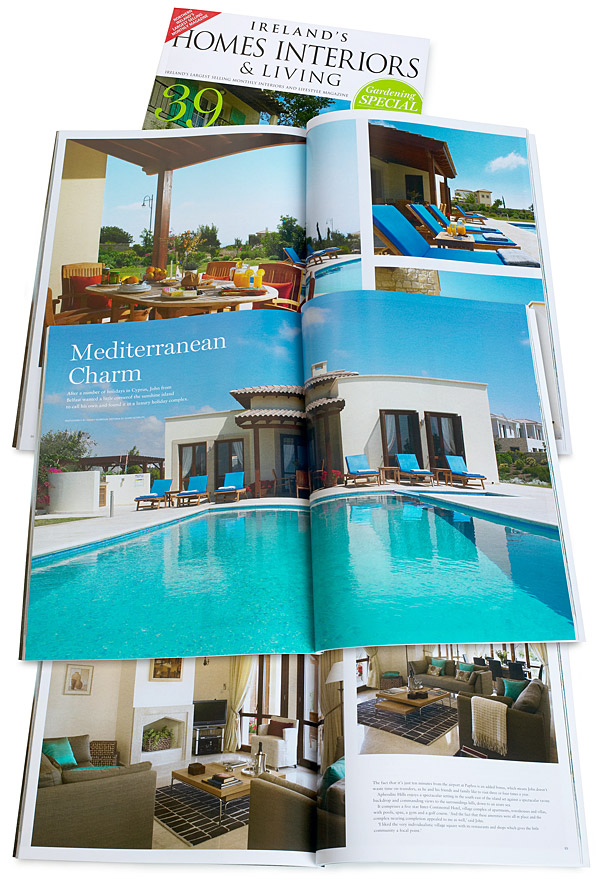 Mediterranean Charm - Pages 82 to 94 of the August 2014 issue of Ireland's Homes Interiors & Living magazine.