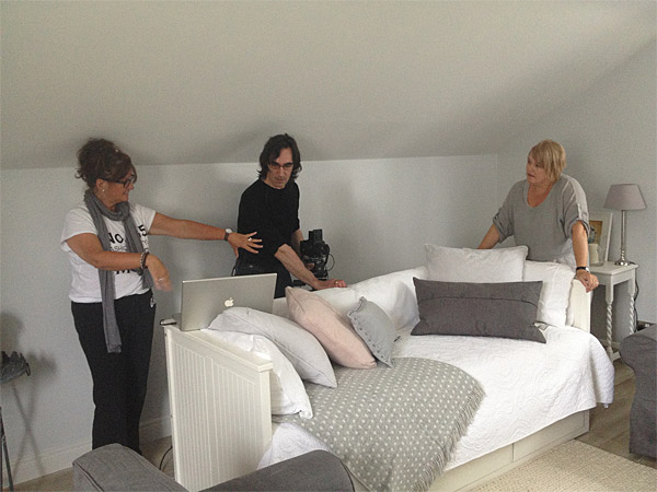 Setting up the shot in Donna Wilson's guest room above her garage near Greenisland in County Antrim.