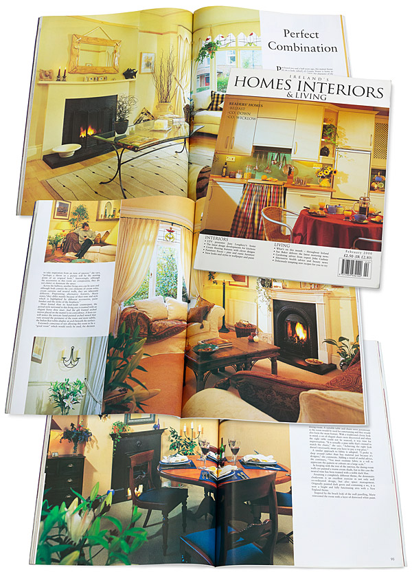 The cover plus pages 86 to 96 in the February 2000 issue of Ireland's Homes Interiors & Living magazine.