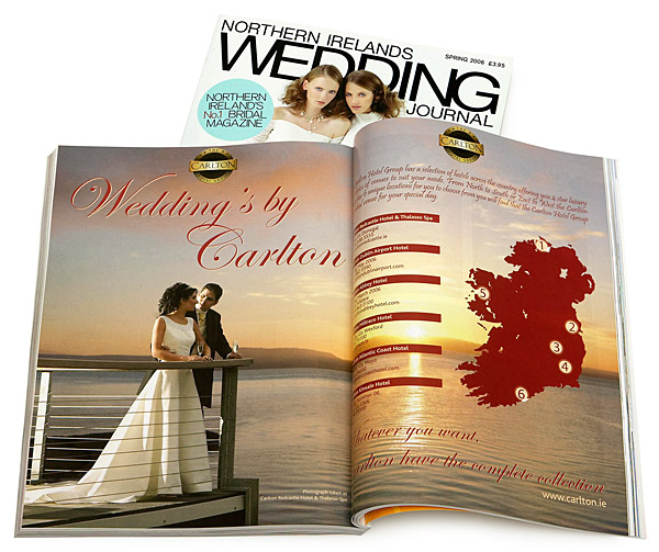 The Carlton Hotels ad in the Spring 2006 issue of Northern Irelands Wedding Journal magazine.