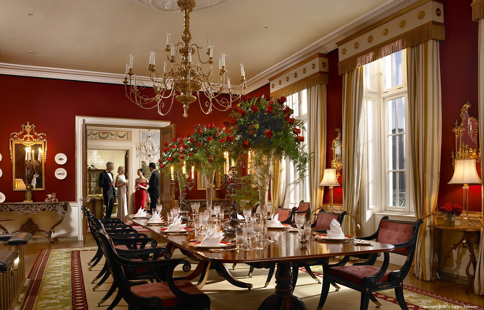The dining room in Straffan House at The K Club in County Kildare.